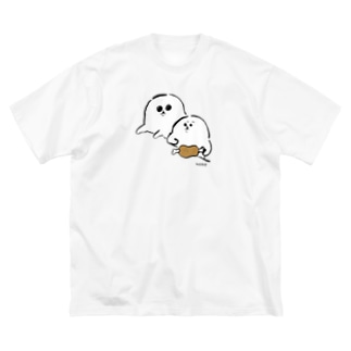 隣の食べ物が気になるあざらいぬ Big silhouette T-shirts