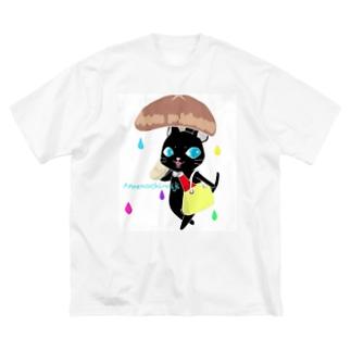 くろねこ にゃ~ご* Big silhouette T-shirts