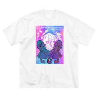 双子のピエロ(ゆめかわカラー) Big silhouette T-shirts