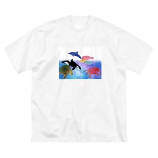 水族館 Big silhouette T-shirts