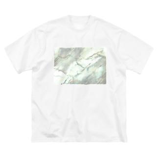 水彩絵の具で描いた大理石 Big silhouette T-shirts