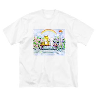 水彩イラストグッズのあじさいのバス停 Big silhouette T-shirts
