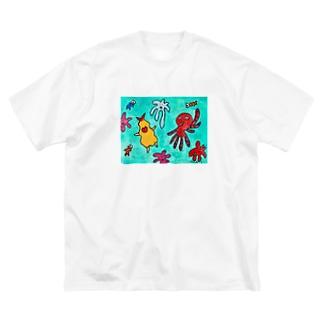 フラちゃん工房☆えびやまの海のお友達とフラちゃん Big silhouette T-shirts