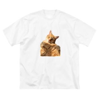 お昼寝茶トラ猫 Big silhouette T-shirts