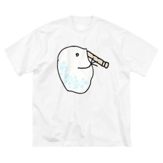 尺八を吹くミジンコ Big silhouette T-shirts