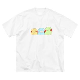 yuuオリジナルイラスト7 ポコちゃん三兄弟 Big silhouette T-shirts