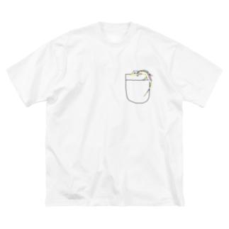 ポケットトカゲ Big silhouette T-shirts