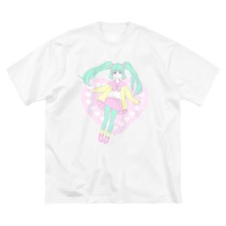 ハートなおんなのこ Big silhouette T-shirts