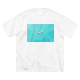 【全額寄付】 浮いている人 Big silhouette T-shirts