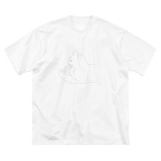 こっこのなにかにくりーむぱんをおしつけるねこ Big silhouette T-shirts