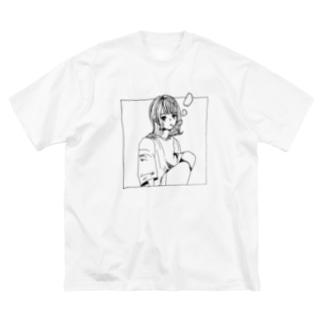 好きなもの倶楽部の茶髪 白黒 Big silhouette T-shirts