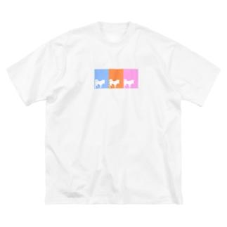 まつのしばいぬさん  10・11・12ミックス Big silhouette T-shirts