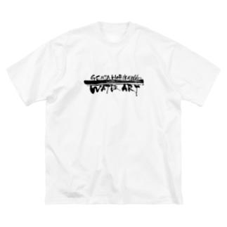 ロゴ字(黒) Big silhouette T-shirts