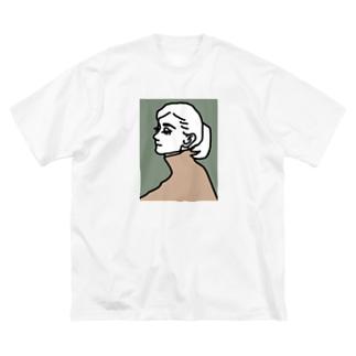 女の人 横顔 Big silhouette T-shirts