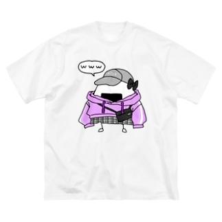 ムラサキパーカーおにぎり Big silhouette T-shirts
