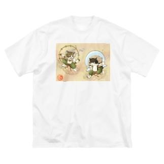 風猫雷猫図屏風 Big silhouette T-shirts