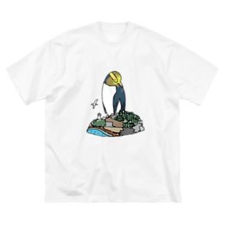 キガシラペンギン Big silhouette T-shirts