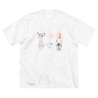 森のどうぶつたち Big silhouette T-shirts