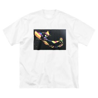 itukanの虹ねこ🌈 Big silhouette T-shirts