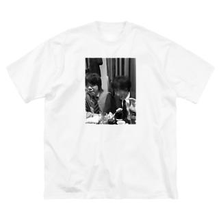 飲み会T (モノクロ) Big silhouette T-shirts