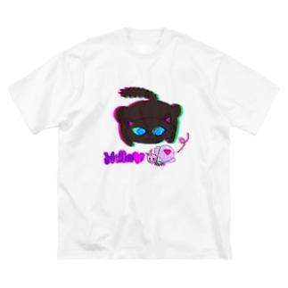 蝶々と黒猫のグルマンくん Big silhouette T-shirts