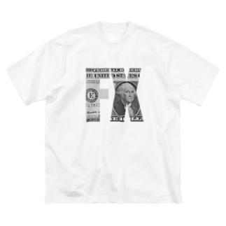 カマラオンテのFXロゴ×1ドル札 トレーダー 投資 Big silhouette T-shirts