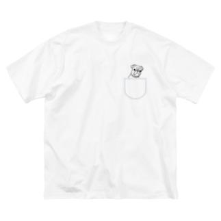 ひょっこりパグさん(あお)/チャリティー Big silhouette T-shirts