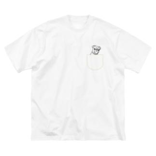 ひょっこりパグさん(きいろ)/チャリティー Big silhouette T-shirts
