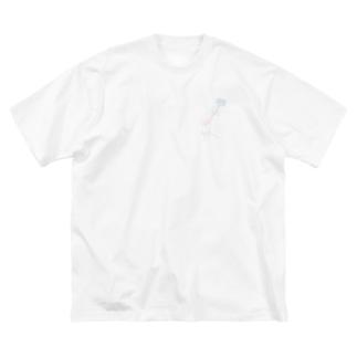 〔Otete+〕 Blue Rose Big silhouette T-shirts