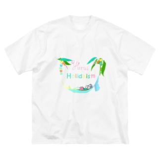 yuruholismのゆるい休日 yurui holidaism バカンス  vacances 南の島 夏休み  Big silhouette T-shirts