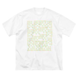 yuruholismの幾何学模様 ピンク イエロー グリーン ブルー シンプル Big silhouette T-shirts