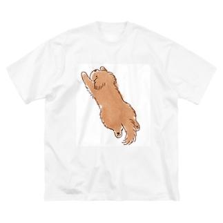 こぐま犬スーパーマンのポーズ Big silhouette T-shirts
