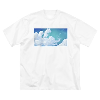 夏、くも、青 Big silhouette T-shirts