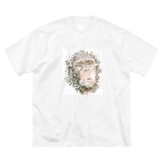 チンパンジーをモチーフにした水彩画 Big silhouette T-shirts