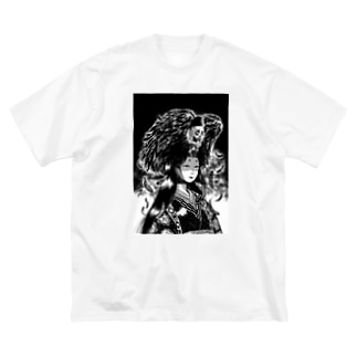 maikawamoto_goodsの髑髏鴉と妖姫 Big silhouette T-shirts