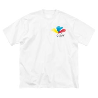 三原色のクローバー Big silhouette T-shirts