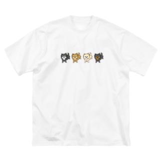 ロングチワワ4匹セット Big silhouette T-shirts