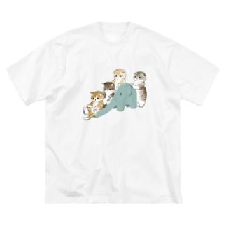 もふもふ渋滞 Big silhouette T-shirts
