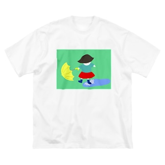 水で遊ぶ女の子 Big silhouette T-shirts