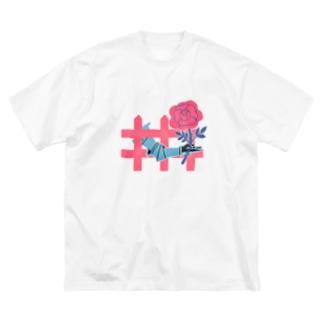 庭に薔薇 Big silhouette T-shirts