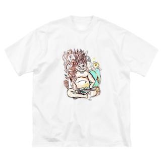 三面大黒天 Big silhouette T-shirts