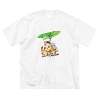 まなつ&まふゆの春雨 (中) Big silhouette T-shirts