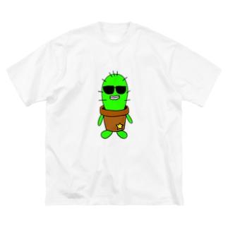 サボテンのフランクリン Big silhouette T-shirts