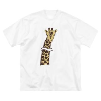 首長省略きりん Big silhouette T-shirts