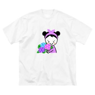 紫陽花スマイルちゃん Big silhouette T-shirts