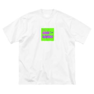 平行四辺形デザイン パープル×ピンク×グリーン Big silhouette T-shirts