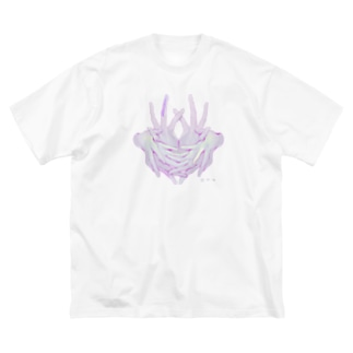 三猿_白 Big silhouette T-shirts