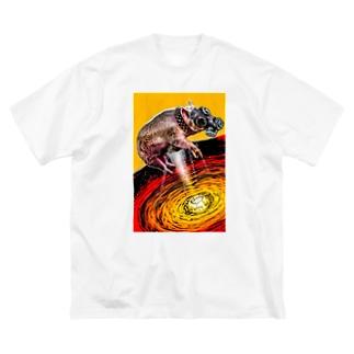 山上 瞬也のガスマスク豚 Big silhouette T-shirts