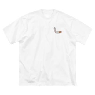 刺繍で作ったタバコ Big silhouette T-shirts