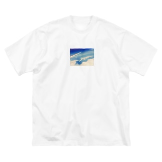 富士山と飛行機 Big silhouette T-shirts